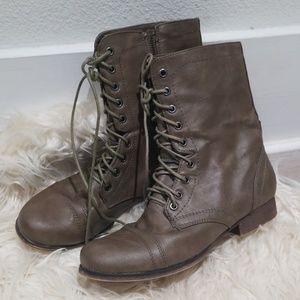 Madden Girl army olive green brown boots size 8